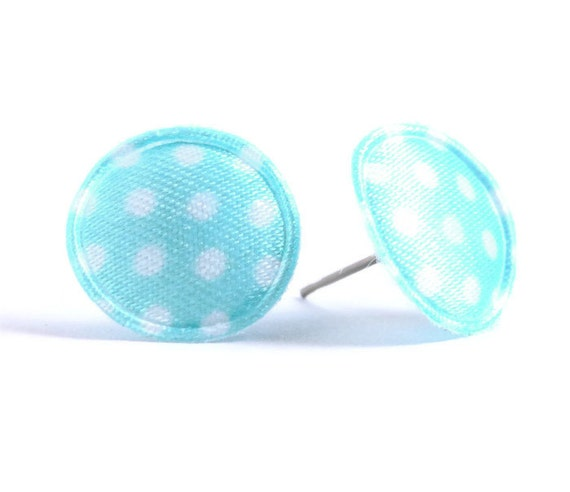 Sale Clearance 20% OFF - Baby blue polka dots applique satin hypoallergenic studs earrings READY to ship (431)