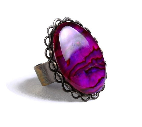 Purple pink paua shell adjustable antique brass ring (694-1) - Flat rate shipping