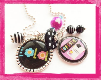 DEAR DIARY - Personalized Pendant Bezel Charm Necklace - Custom Jewelry for Girls #B33
