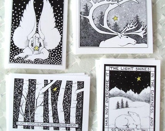 Starry Christmas Cards - set of 12 blank holiday cards