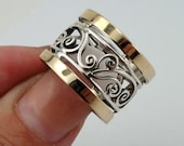 Great Sterling silver integrated 9K yellow gold  band size 7