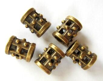 18 Bronze beads, large hole bead,  steampunk jewelry supply, wrap bracelet bead,  ethnic tibetan style,11mm x 9mm 5026-AB-NR-(Z6),