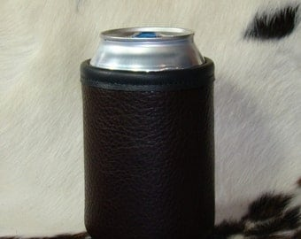 Chocolate Bison Leather- Can Insulator- or choose Montana Red Bison, Chocolate, Black or Saddle