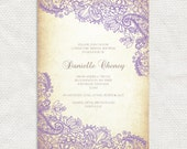 rustic lace bridal shower invitation - printable file - or lace wedding invitation