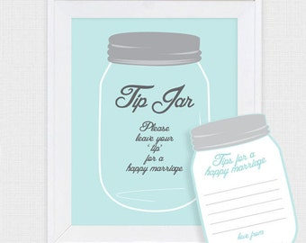 mason jar tip jar wedding guest book - printable file - marriage advice cards, retro, diy, wedding wishes, alternative guestbook, note cards