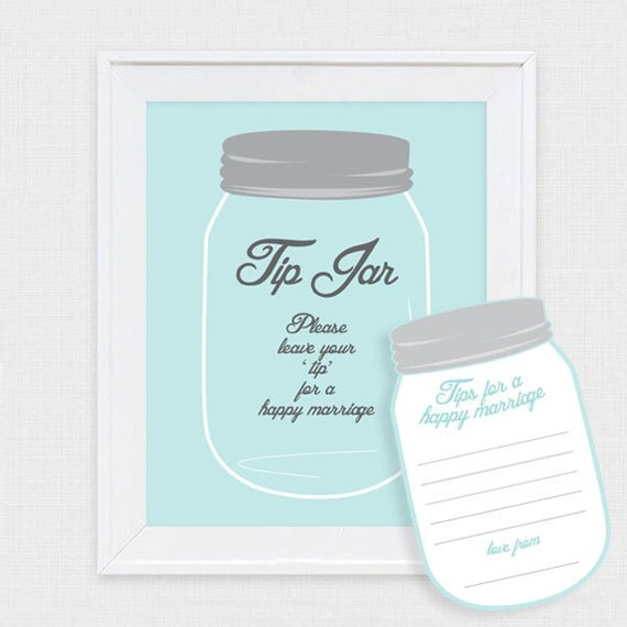 Mason Jar Tip Jar Wedding Guest Book Printable File