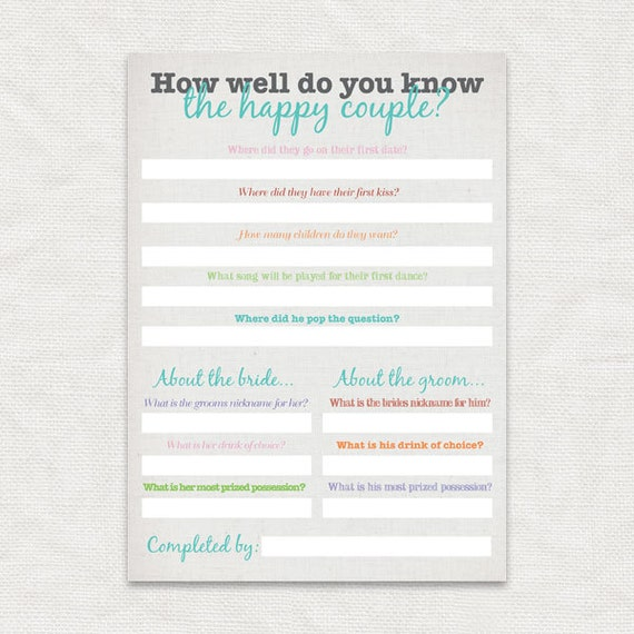 Wedding Gift For Couple You Donot Know Well : how well do you know the happy couple bridal shower gameprintable ...