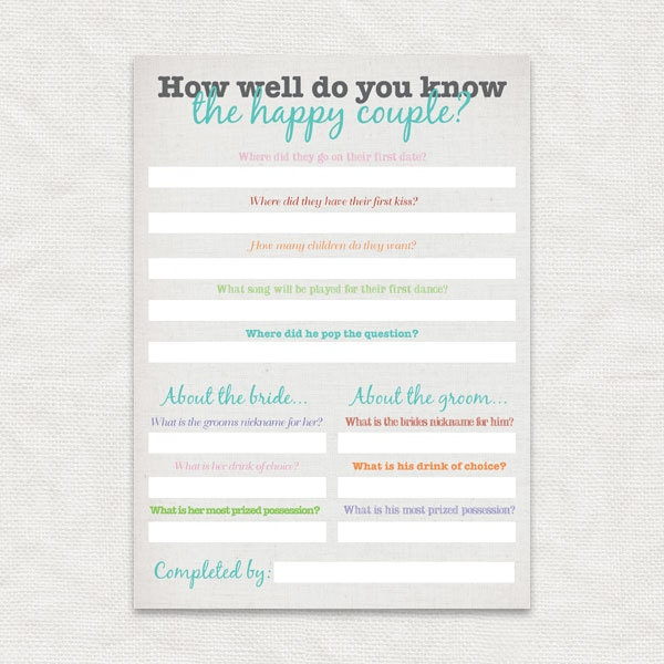 How Well Do You Know The Happy Couple Bridal Shower Game