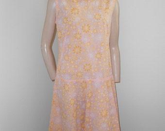 1960's Ladies Sheer Sleeveless Pink w/Yellow Flowers Summer Dress - Size M-L