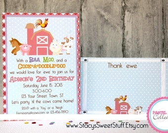 Farm Animal Birthday Invitation, Pastel, DIY, Printable