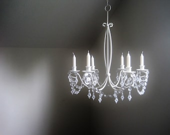 The Perfect Wedding Chandelier For Taper Style Candles In Antique White MADE TO ORDER