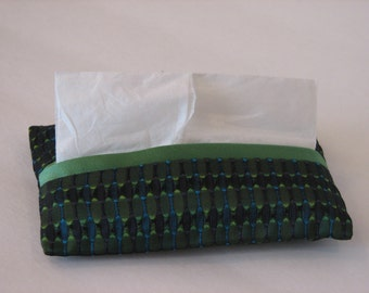 Travel Tissue, Kleenex Cover, Pocket Tissue, Green and Blue