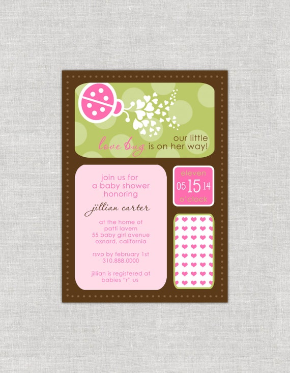 Love Bug Baby Shower Invitation, Lady Bug Shower, Whimsy Shower, Girl Shower, Pink and Green, Polka Dots, Spring Invitation