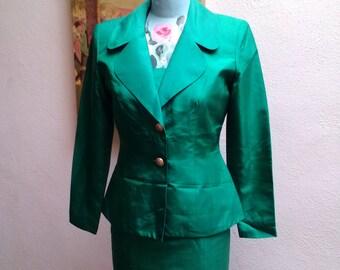 Emerald City///vtg90's Gorgeous Hugo Biscatti 100% Silk Emerald Green Cocktail Party Evening St. Patricks Dress Suit///Jacket sz4 Dress sz2