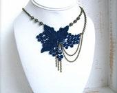 Royal Blue Tinted Grape Lace Necklace // lace necklace-royal blue-swarovski crystal-