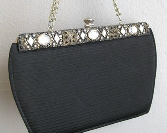 60s RHINESTONE evening bag purse in black with silver chain