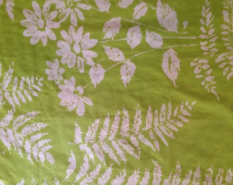 Wamsutta Superlin Green and White Ferns and Flowers Twin Flat Sheet
