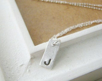 Tiny initial pendant art clay silver necklace, personalized necklace, bridesmaid gift, teenage daughter, wedding gift, eco friendly