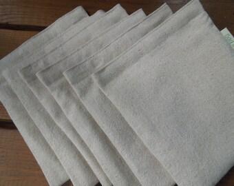 Six reusable sandwich bags  - Unbleached cotton sandwich bags - Reuse sandwich bags - Plain and simple on natural unbleached cotton