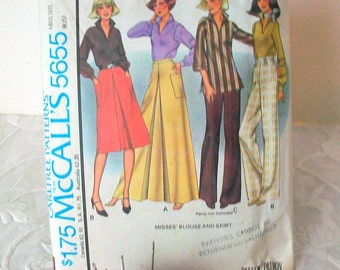 Vintage McCalls Carefree Pattern #5655  Womens long or short skirt and Womens tunic blouse