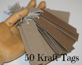 Kraft Labels (50) ... Thick Chipboard Tags Prestrung Tags Heavy Duty Rustic Blank Labels Merchandise Tags Seller Supplies Product Price Tags