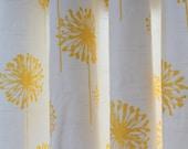Pair of designer curtain panels drapes, dandelion corn yellow and white