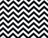 Pair (2 panels) designer drapes, ZigZag chevron black white cotton