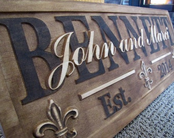 Fleur De Lis Personalized Family Last Name Signs Christmas gift Wedding gift Present Couples Established Anniversary Plaque New Wine Cellar