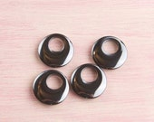 Hemalyke Donuts- Four Black Focal Beads-Black Go-go Focal Component | Craft Supplies | DIY