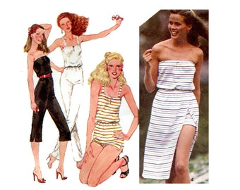 1980s Strapless Romper Jumper and Wrap Skirt Pattern Simplicity 9433 Bust 30 31 32 Skinny Jumpsuit Summer Sun Suit Vintage Sewing Pattern