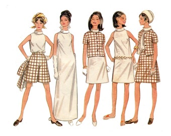 1960s Evening Dress or Daytime Separates Pattern Roll Collar Dress, Top, Jacket, Skirt, Shorts Butterick 4799 Bust 34 Vintage Sewing Pattern