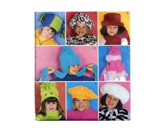 Childrens Fleece Hats Pattern Kids Beret Balaclava Andean Watch Cap Roll Brim Warm Winter Hats Sewing Pattern McCalls 3404 Scarf and Mittens