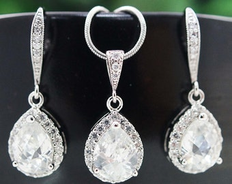 Bridal Jewelry Set Wedding Jewelry Bridal Earrings Bridal Necklace Clear White LUX Cubic Zirconia Tear drops Jewelry Set mother of the bride