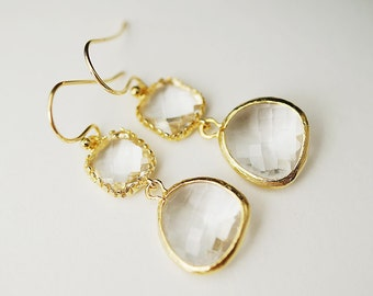 Wedding Jewelry Bridesmaid Earrings Dangle Earrings Gold Framed clear white glass drop Earrings
