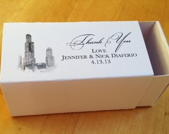 2 Piece Slide Custom Printed Favor Box - Chicago/Willis/Sears Tower Design