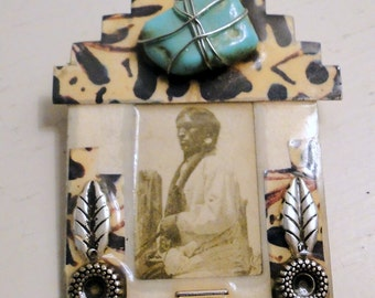 Native American Brooch Turquoise Tribal Photography Celluloid