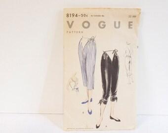 Vintage 1950s Vogue Maternity Pants Pattern 8194 Hip 33