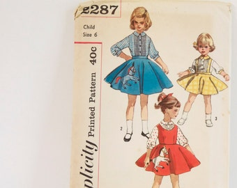 Vintage 1950s Child's Blouse, Jumper and Horse Skirt Simplicity Pattern No. 2287 - Size 6