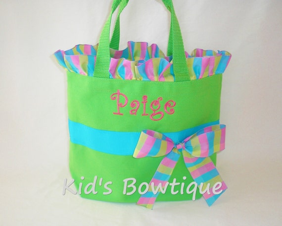 Set of 3 Aqua Lime Pink Personalized Ruffles and Bow Tote Bag- Monogrammed Flower Girl Gift- Monogrammed Girl Purse