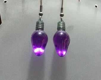 CIJ: Christmas Light Bulb Earrings - Purple - Does Not Light Up