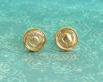 Gold Stud Earrings with a Spiral - Gold Studs - 18k Gold Plated - Stud Earings