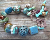 Turquoise River -Chunky Mixed Material and Copper Bracelet