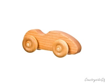 Wooden Toy Cars - Handcrafted Natural and Organic Wooden Toy Car-  Hardwood Wooden Toy Sports Car  - Cherry Wood