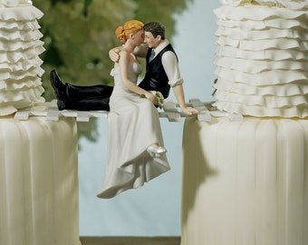 Bride and Groom Couple sitting on Bridge Look of Love Wedding Cake Topper-Porcelain Hand Painted Figurines