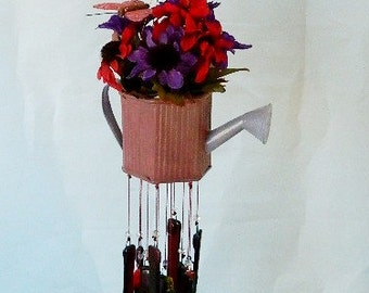 Fused Glass Wind Chime, Metal Watering Can Adorned with Silk Flowers and Butterfly, Fused Glass Chimes and Glass Czech Beads