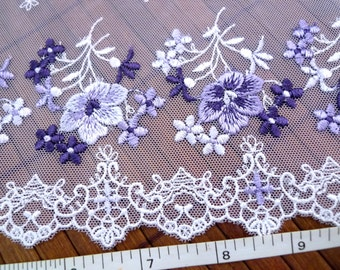 Embroidered lace, Lace trim, Lolita lace, Wedding lace, Lingerie lace, Tulle lace, Net lace, Floral lace, Violet lace,  2 yards VT125