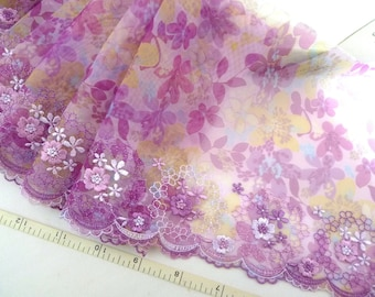 Lace trim, Embroidered fabric, Tulle lace, Net fabric, Floral lace, Bridal lace, Violet lace, Lingerie fabric,  2 yards PT047