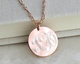 Vintage Style Monogrammed Sterling Silver, 14kt Yellow Gold Fill, or 14kt Rose Gold Fill Pendant Necklace - Eco Friendly and Nickel Free