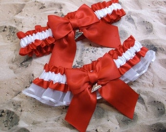 Red Satin White Satin Organza Love Heart Charm Wedding Bridal Garter Toss Set