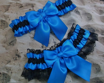 Black Blue Satin Black Lace Wedding Bridal Garter Toss Set
